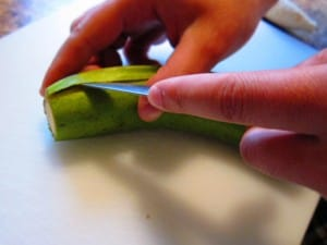 how to peel green plantains - step 2
