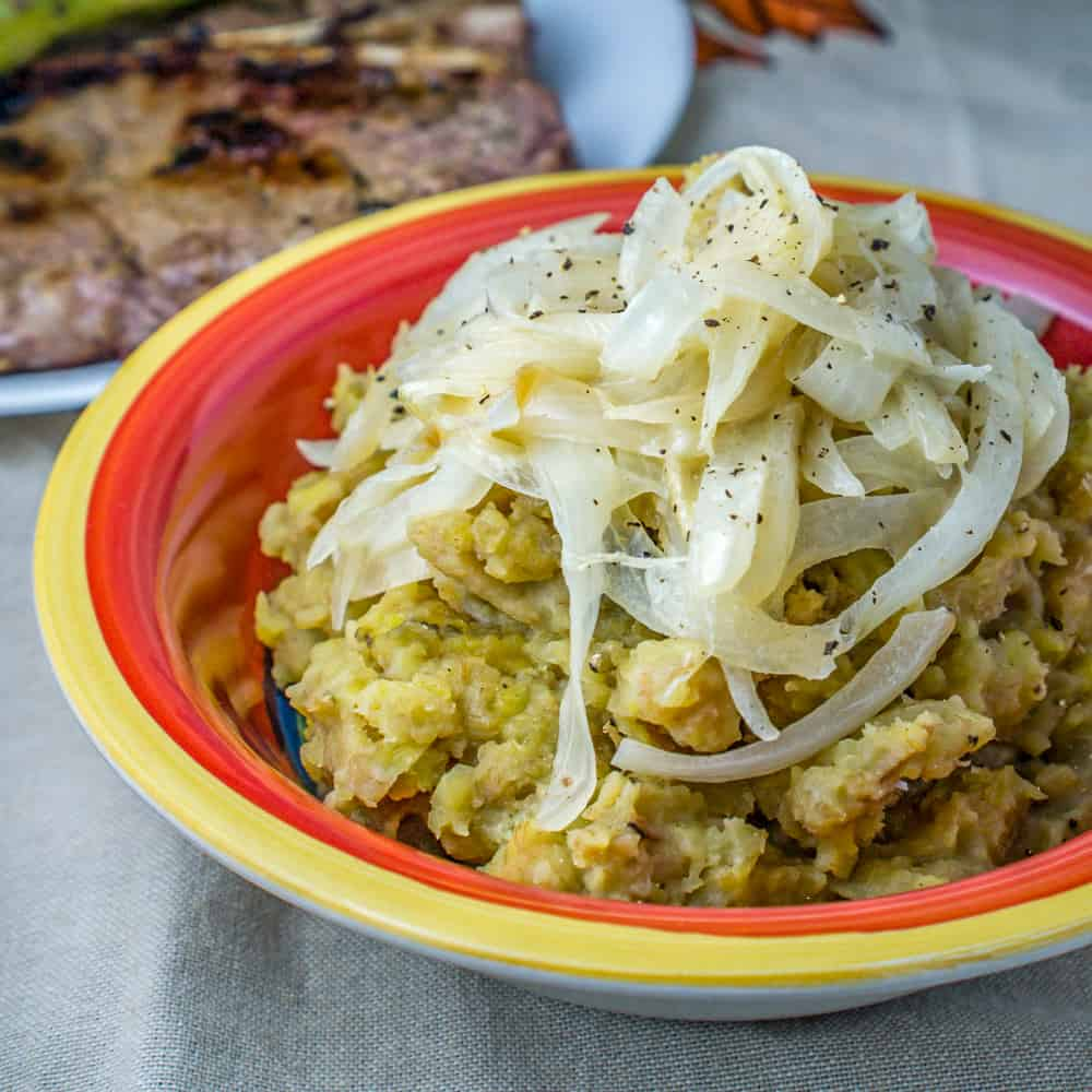 Dominican Mangú Recipe - Mashed Plantains with Sauteed Onions