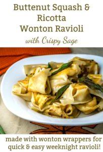 Butternut Squash Ricotta Ravioli with crispy sage