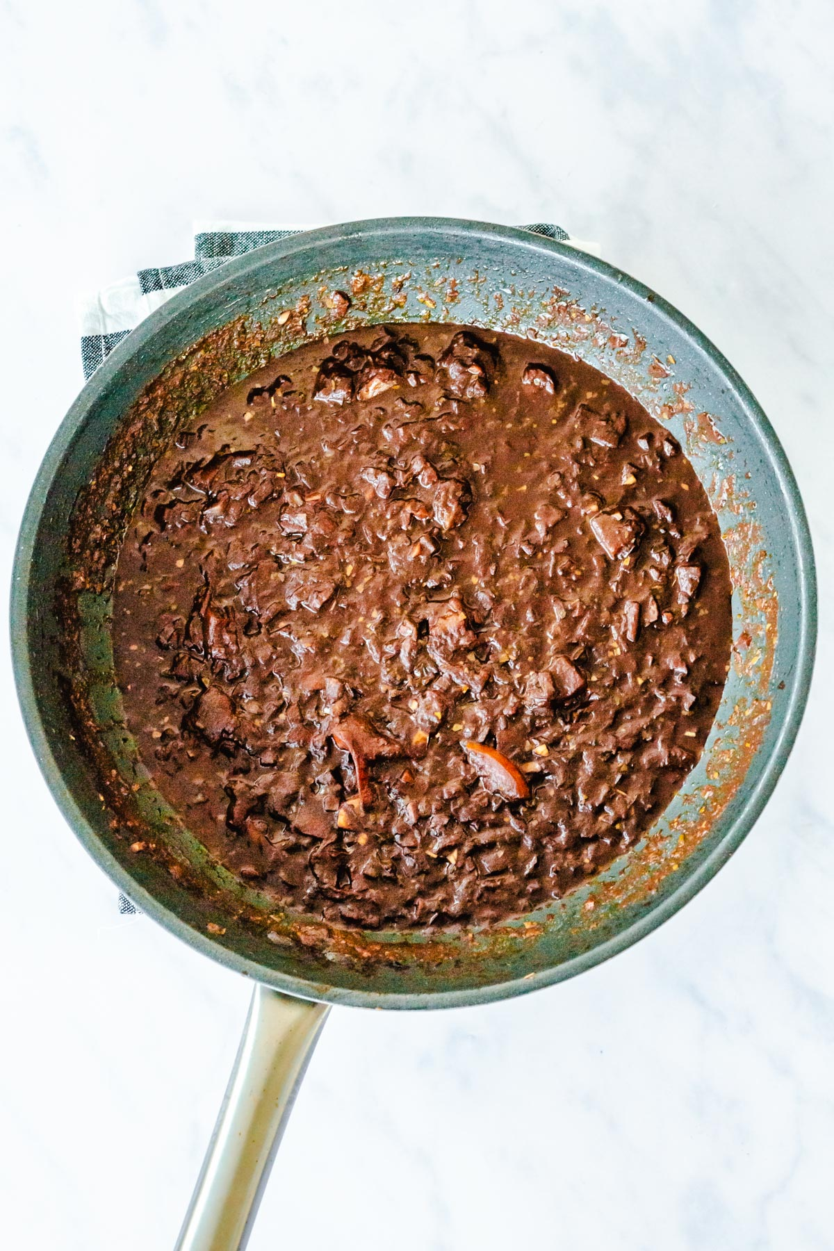 mole sauce in a pan