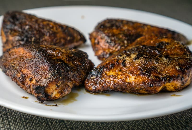 blackened chicken - tender and juicy - on a plate