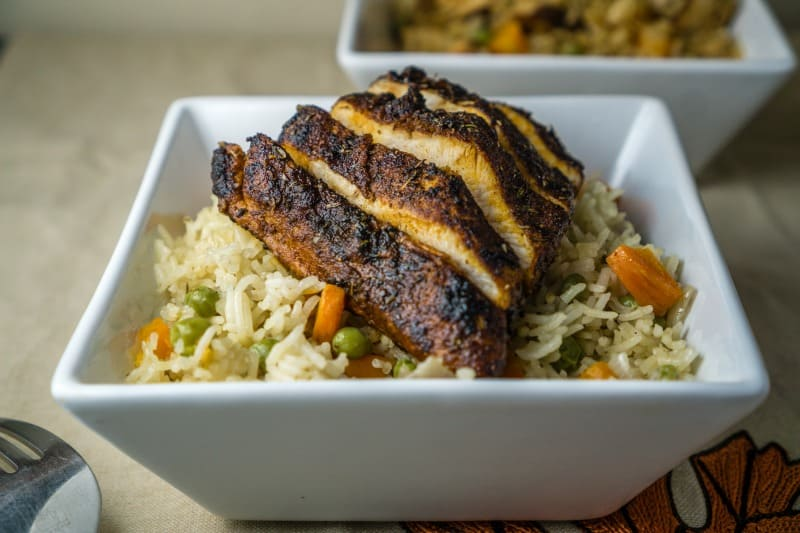 Blackened Chicken with Rice Pilaf