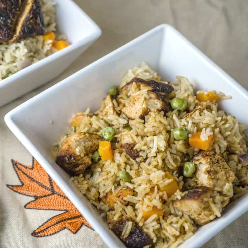 blackened chicken rice pilaf in a bowl