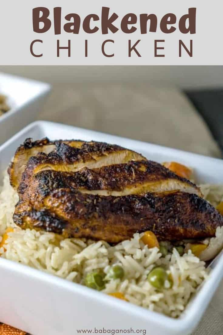 pinterest image of blackened chicken over rice pilaf