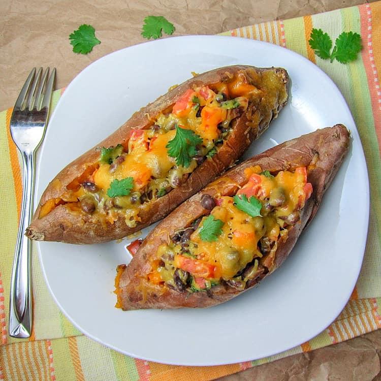 Chipotle Black Bean Stuffed Sweet Potatoes
