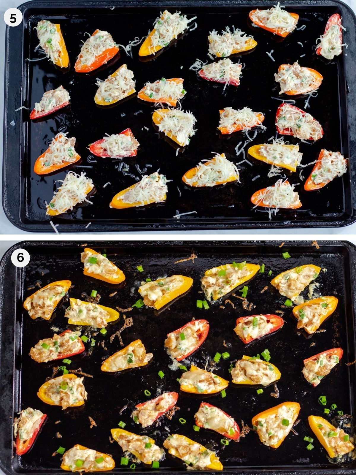 cheesy stuffed mini bell peppers on a baking tray