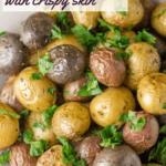 roasted baby potatoes close up image