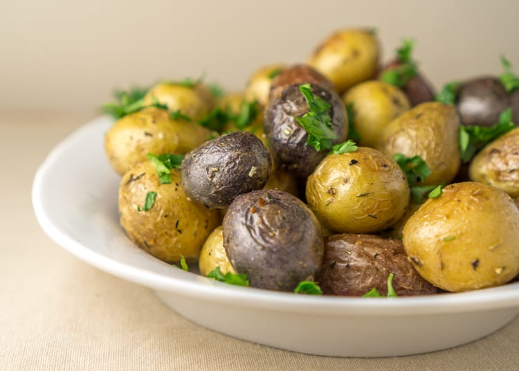 roasted young potatoes with crispy skin