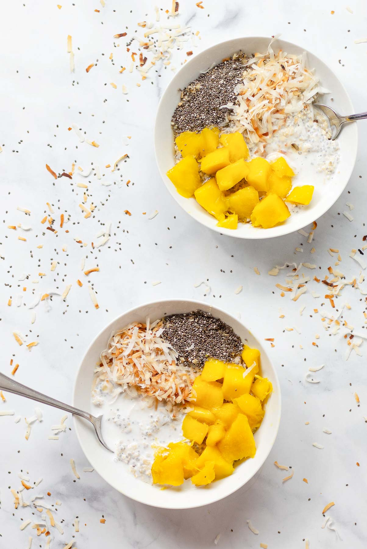 2 bowls of mango oats with coconut and chia