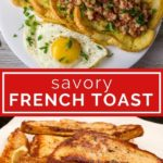 photo collage of savory French toast