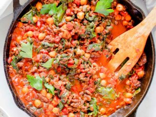 Chickpea chorizo stew in a skillet.