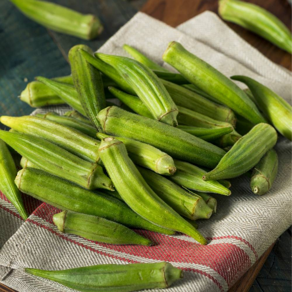 fresh young okra pods