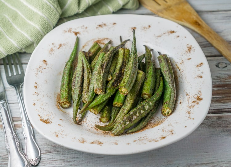 roasted okra on a plate