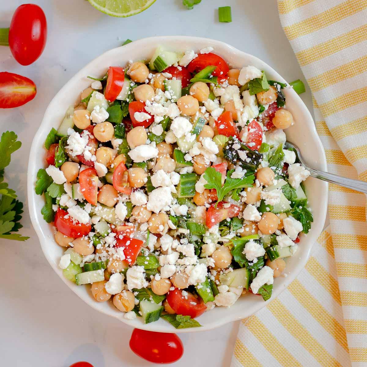 Chickpea feta salad in a bowl.