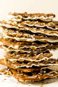 stack of chocolate covered matzo easy passover dessert