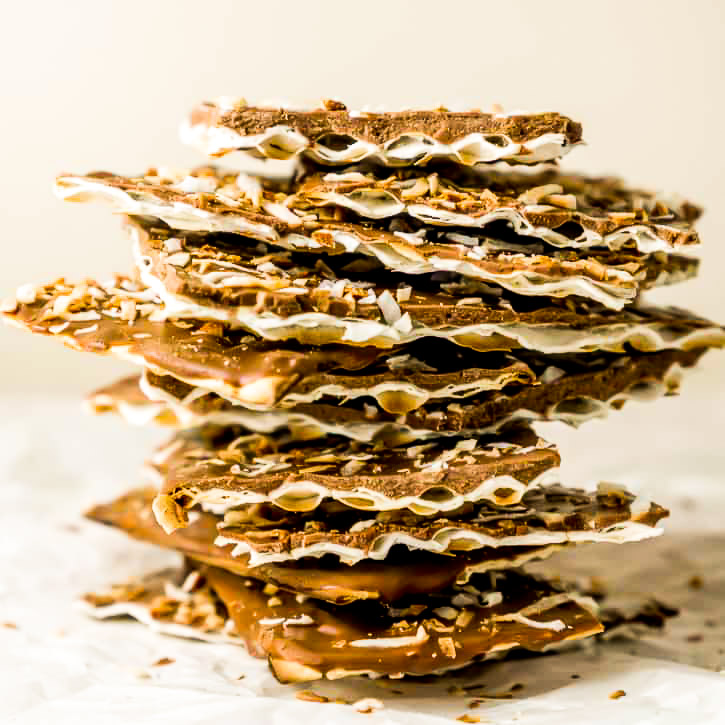 stack of chocolate covered matzo