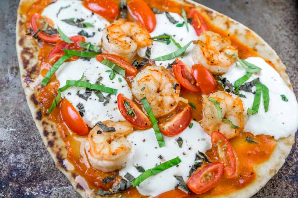 Naan Shrimp Pizzas with fresh basil - dinner is ready in 20 minutes! www.www.babaganosh.org