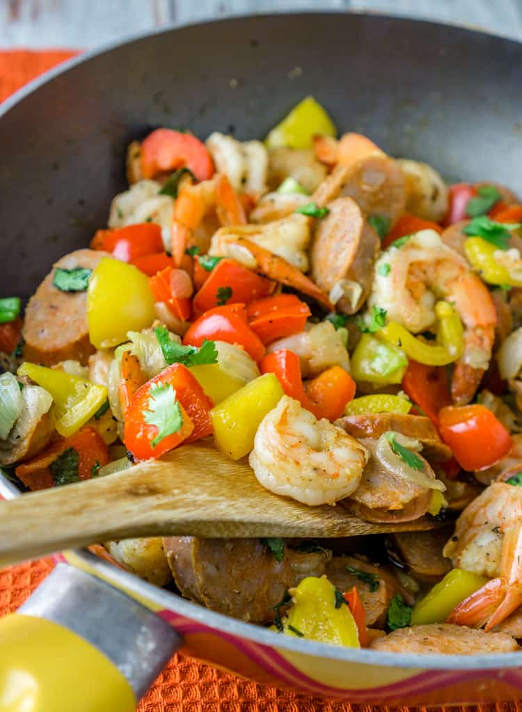 sausage and shrimp skillet picture