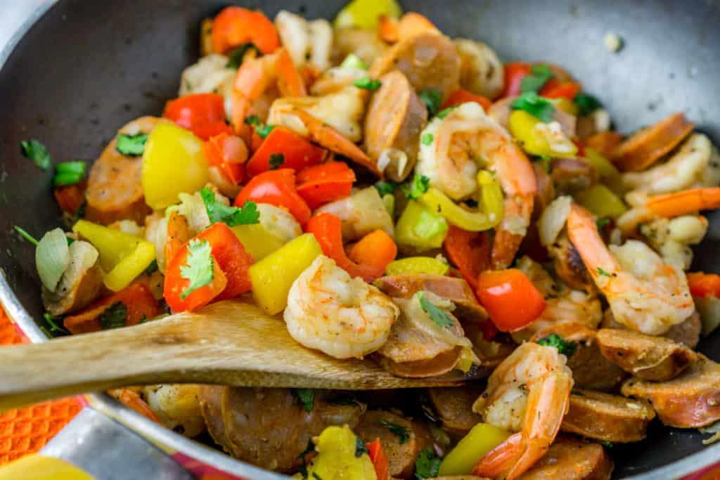 sausage & shrimp skillet