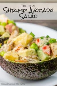 tropical shrimp avocado salad boats pinterest image