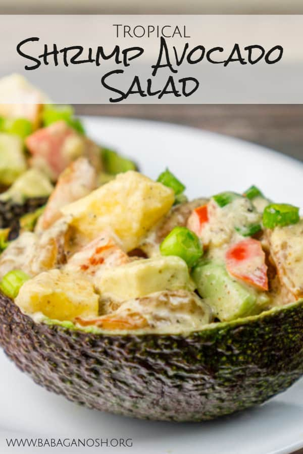 tropical shrimp avocado salad boats pinterest image