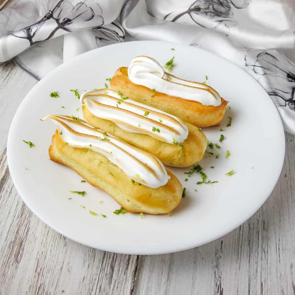 These Lime Meringue Mini Eclairs are half the size but ALL the flavor! The zesty lime custard filling is perfectly balanced by the sweet, light meringue. From https://www.babaganosh.org