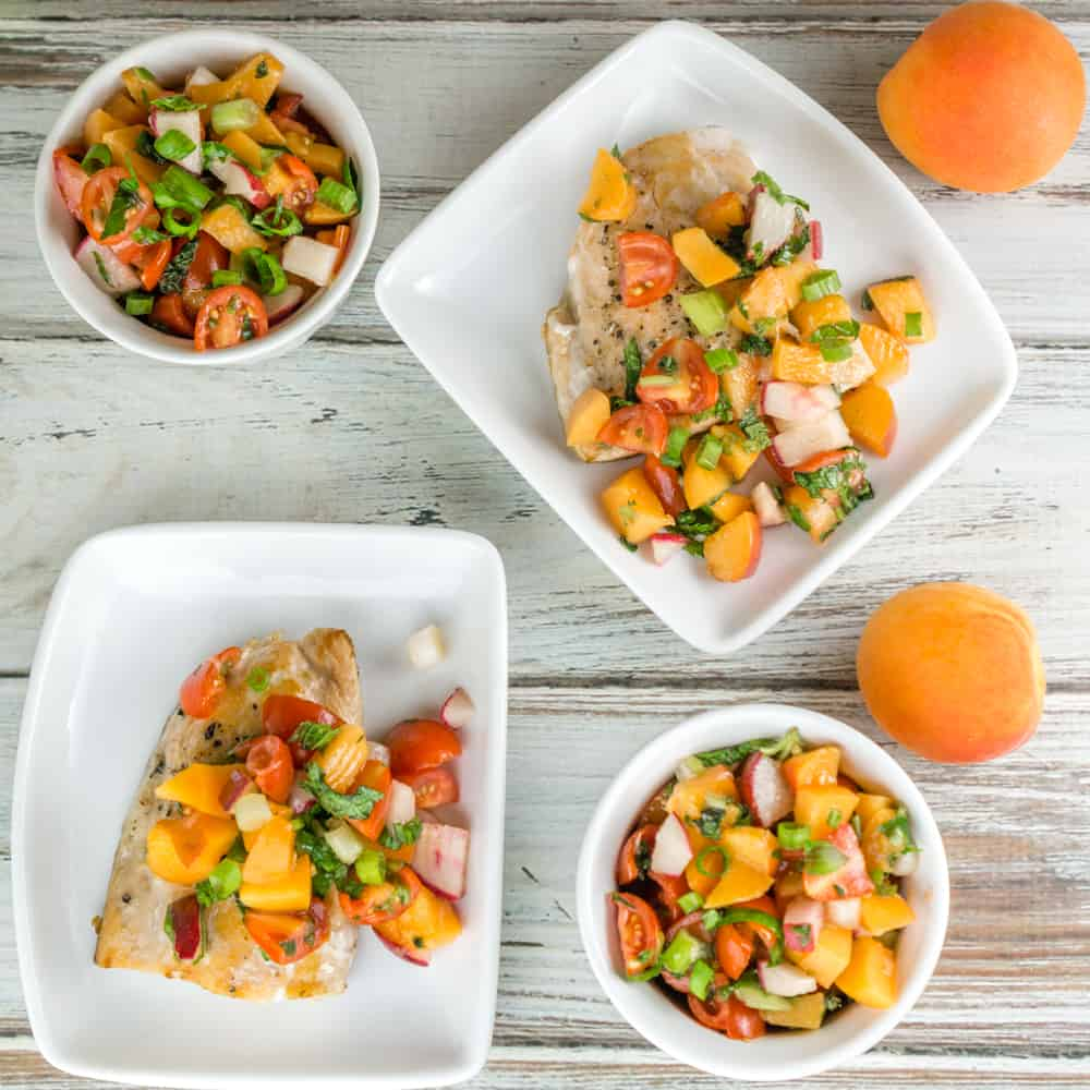 An easy 10 minute recipe for a fresh, delicious Tomato Apricot Relish. Serve this relish over pan-seared salmon, grilled chicken breast, or as bruschetta on crusty bread! From https://www.babaganosh.org