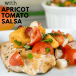 pinterest image of pan seared salmon with tomato apricot salsa