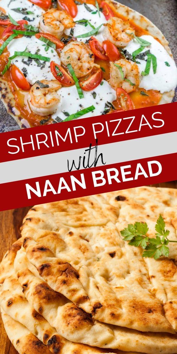 shrimp naan pizzas pinterest graphic
