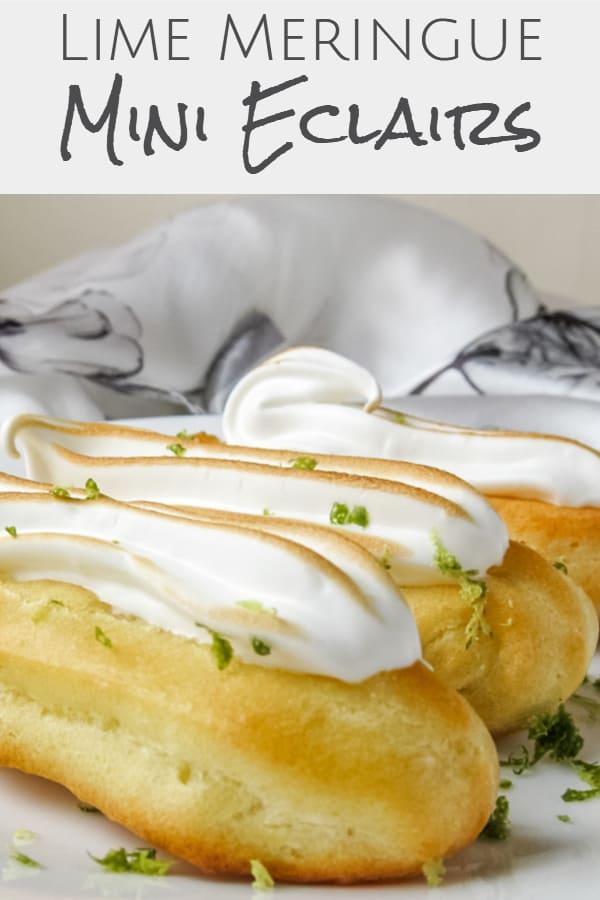 lime meringue mini eclairs pinterest image