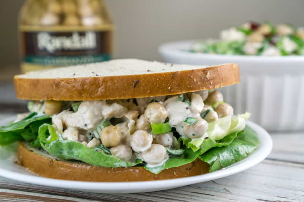 Make this easy Garbanzo Chicken Salad for a quick and healthy school lunch or after-school snack. Serve in a pita or on your favorite bread. This recipe will quickly become a family favorite! From https://www.babaganosh.org