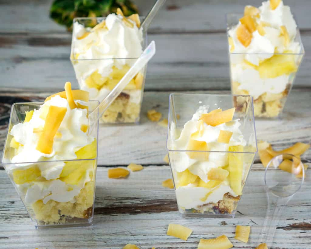 These individual Mini Tropical Trifles are the perfect answer when you don't want to bake and need a dessert whipped up (literally!) in 10 minutes. Save this one for your next dinner party or cookout. From https://www.babaganosh.org