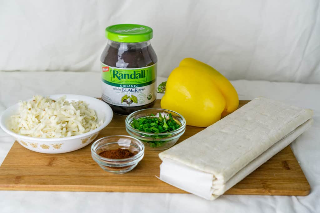 ingredients to make black bean puff pastry triangles