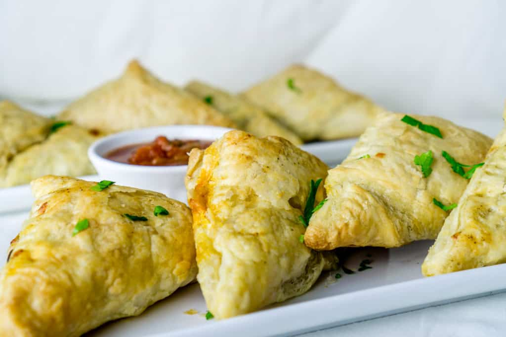 Black Bean Puff Pastry Triangles on a plate