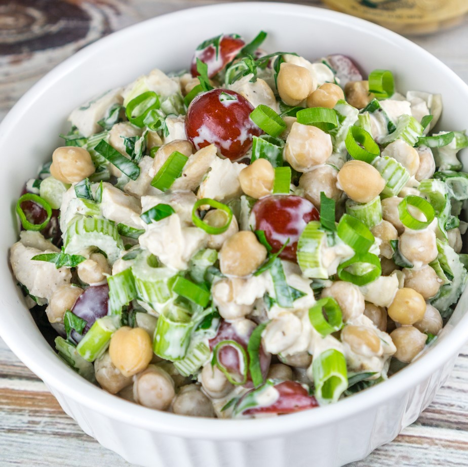 chicken chickpea salad in a bowl