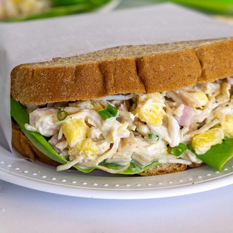 hawaiian chicken salad with pineapple sandwich