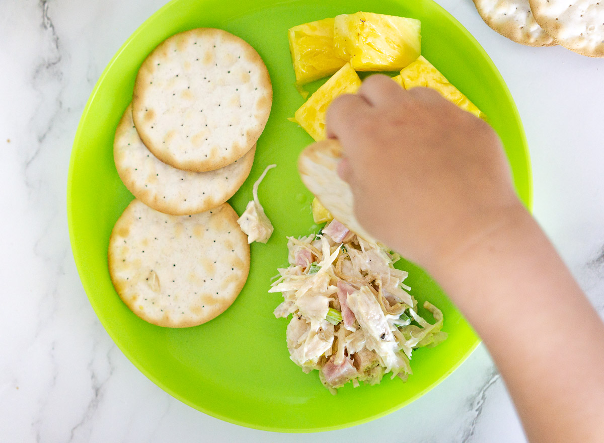 toddler lunch of chicken salad with pineapples
