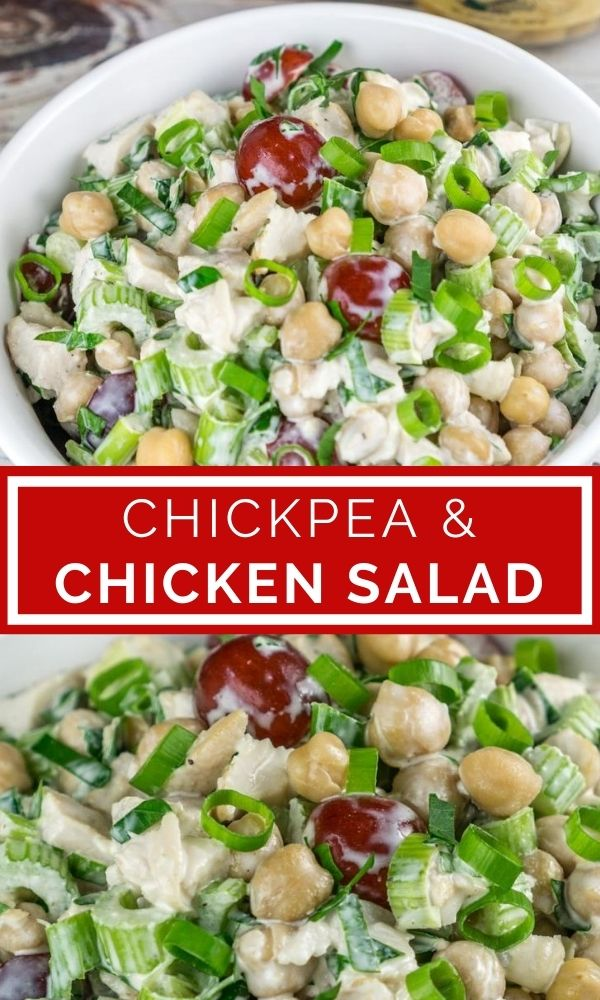 chickpea chicken salad pinterest graphic collage of pictures