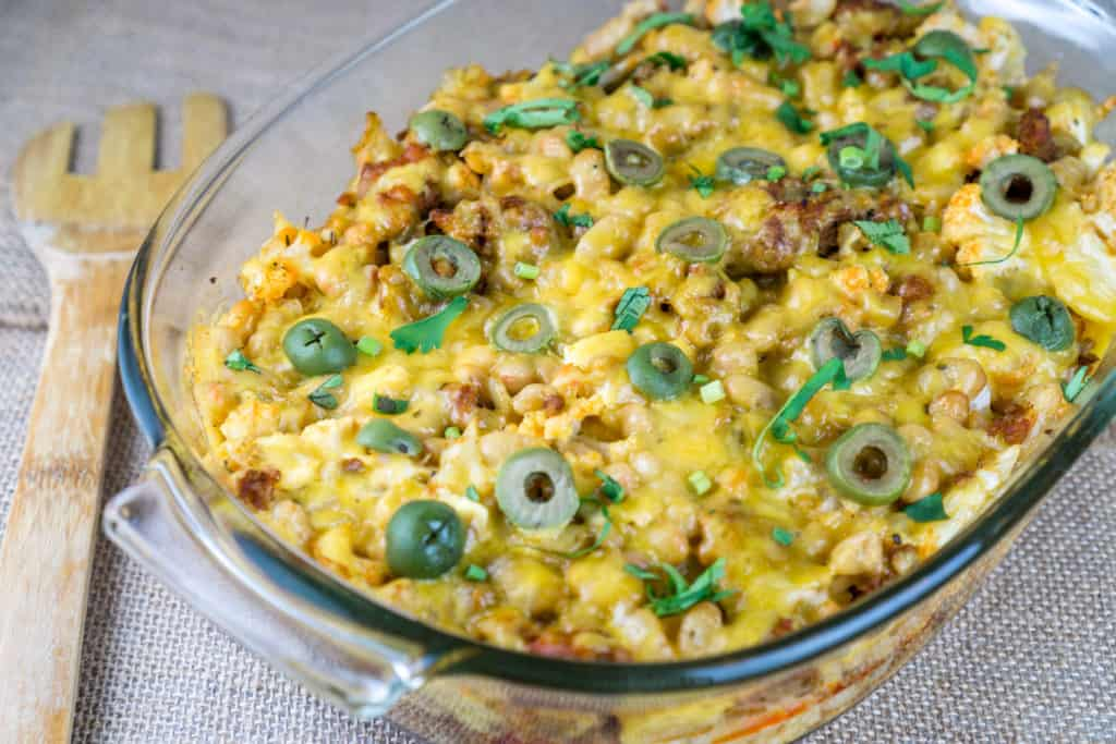 This cheesy Cauliflower Chorizo Casserole is the ultimate comfort food casserole for everyone's taste! From https://www.babaganosh.org