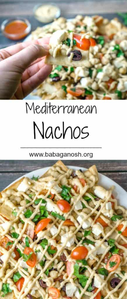 These Mediterranean Nachos are a must-try! All the delicious flavors of the Mediterranean in a delicious platter with heart-healthy chickpeas, feta cheese, fresh veggies and herbs, all topped with a yummy hummus sauce. From www.www.babaganosh.org