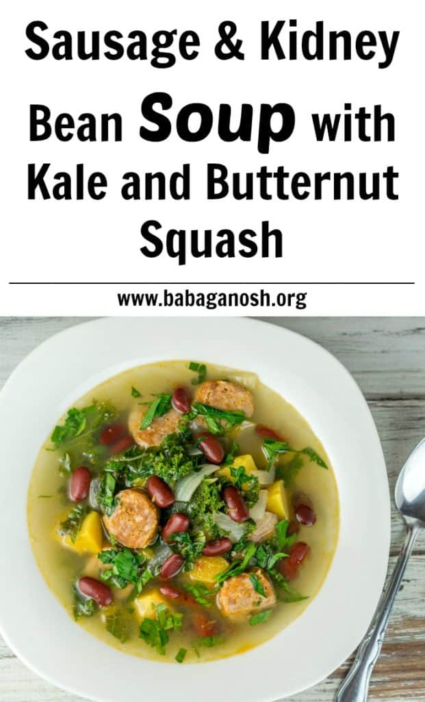 This Sausage & Kidney Bean Soup with butternut squash and kale is a favorite for cold weather!