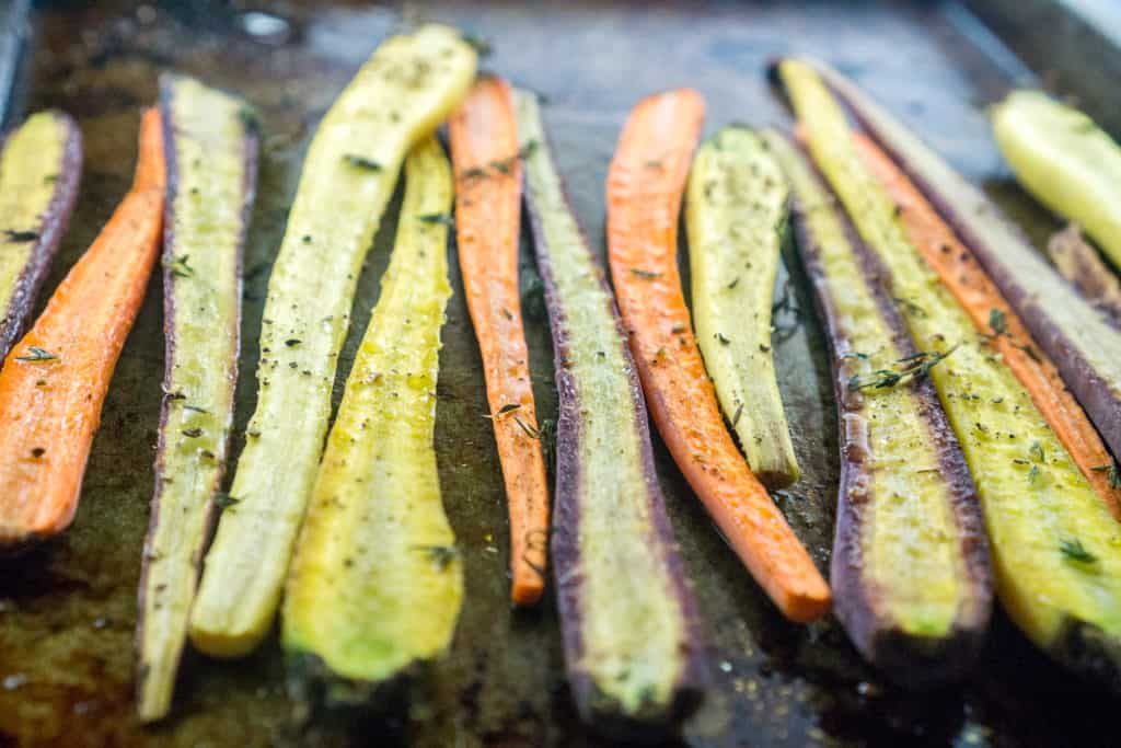 These Thyme Roasted Carrots are best served immediately, but are great re-heated as leftovers, since roasted carrots do not get mushy.