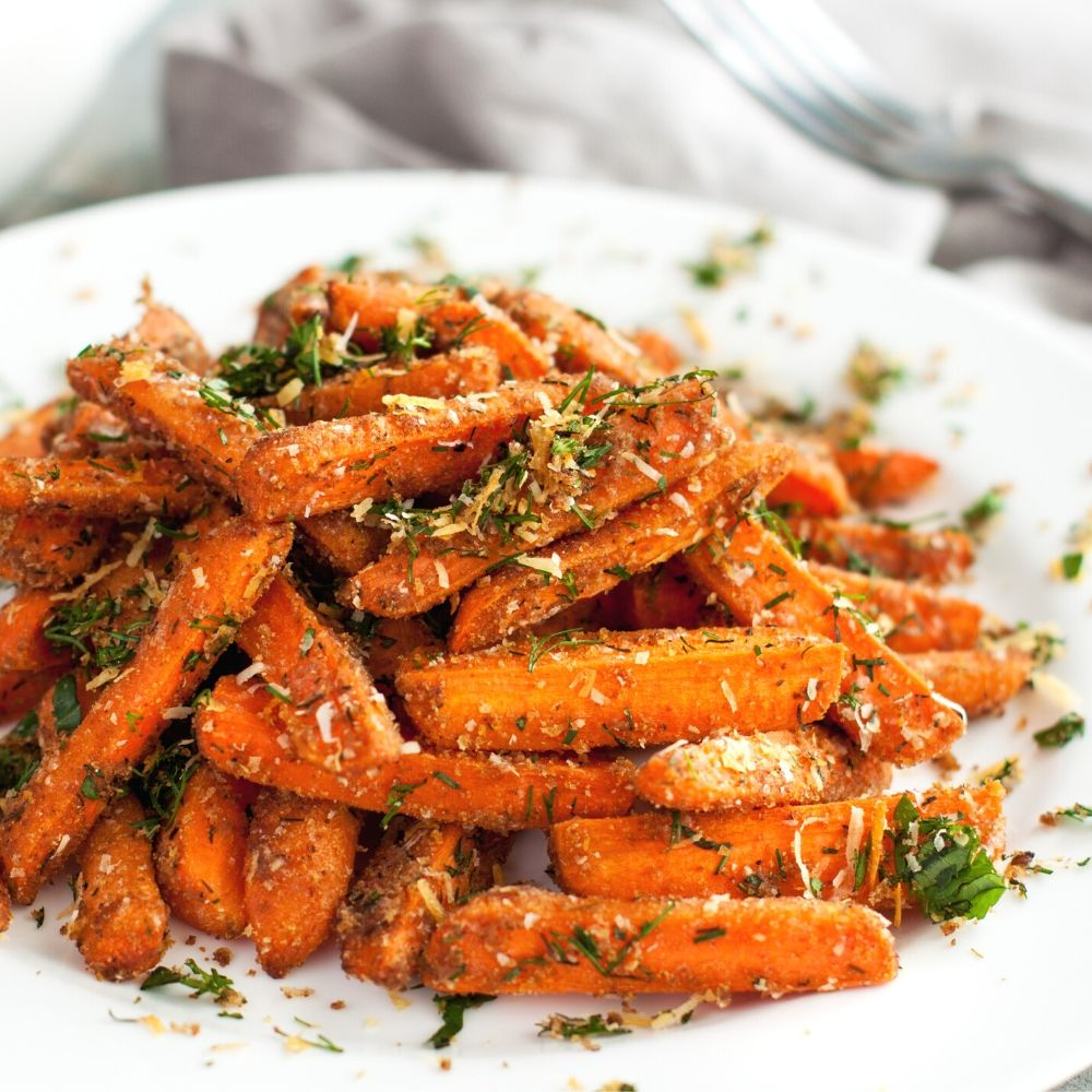 parmesan roasted carrots on a plate