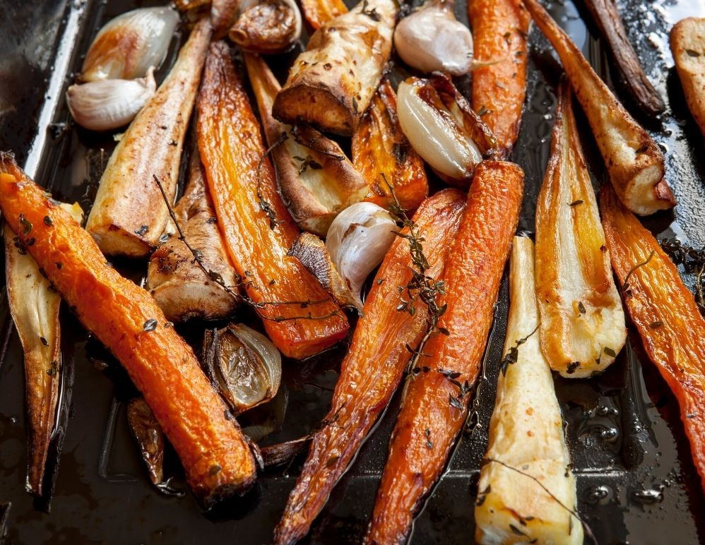 thyme roasted carrots on a baking dish