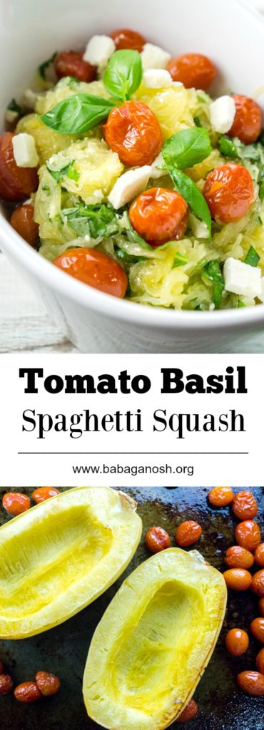 This Tomato Basil Spaghetti Squash recipe is super healthy, easy, and delicious. A great side dish to complement any main course!
