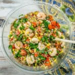 This Shrimp and Vegetable Couscous Salad can serve as a light and healthy meal or a hearty side. A great alternative to pasta salad for cookouts and picnics!