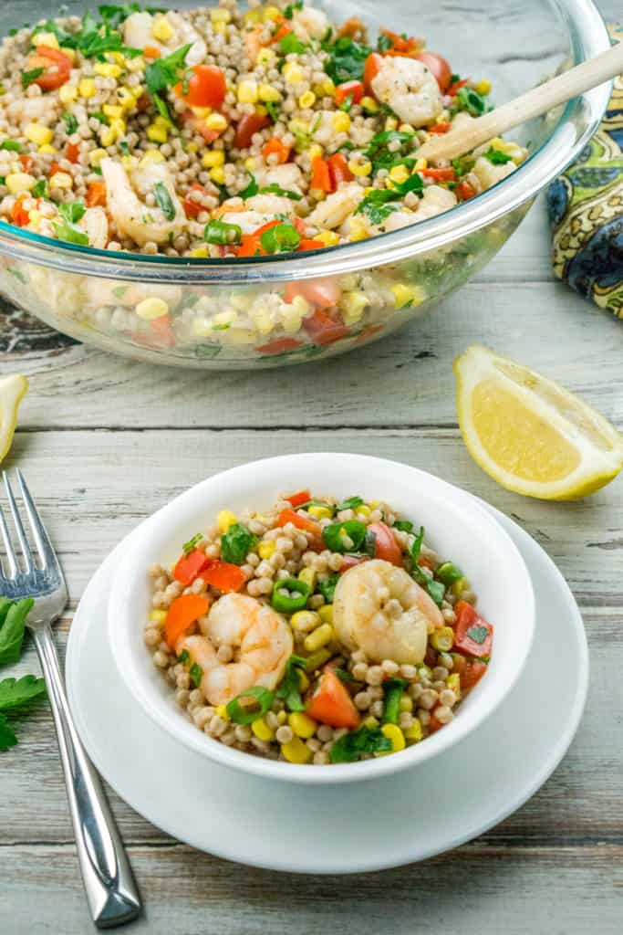 This Shrimp and Vegetable Couscous Salad can serve as a light and healthy meal or a hearty side. I like to serve it for dinner and cookouts, as it is a nice alternative to pasta salad!
