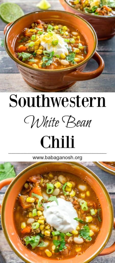 Your whole family will love this Southwestern White Bean Chili! It is a quick and easy recipe that works for a weeknight meal or for Sunday dinner.