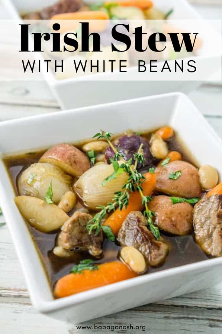 image of pinterest graphic: great northern irish stew in a bowl