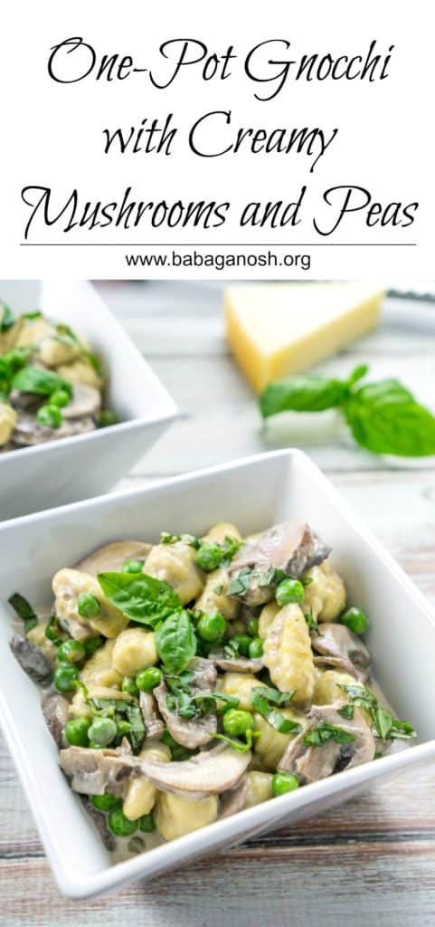 One Pot Gnocchi with Creamy Mushrooms and Peas - dinner couldn't get any easier!